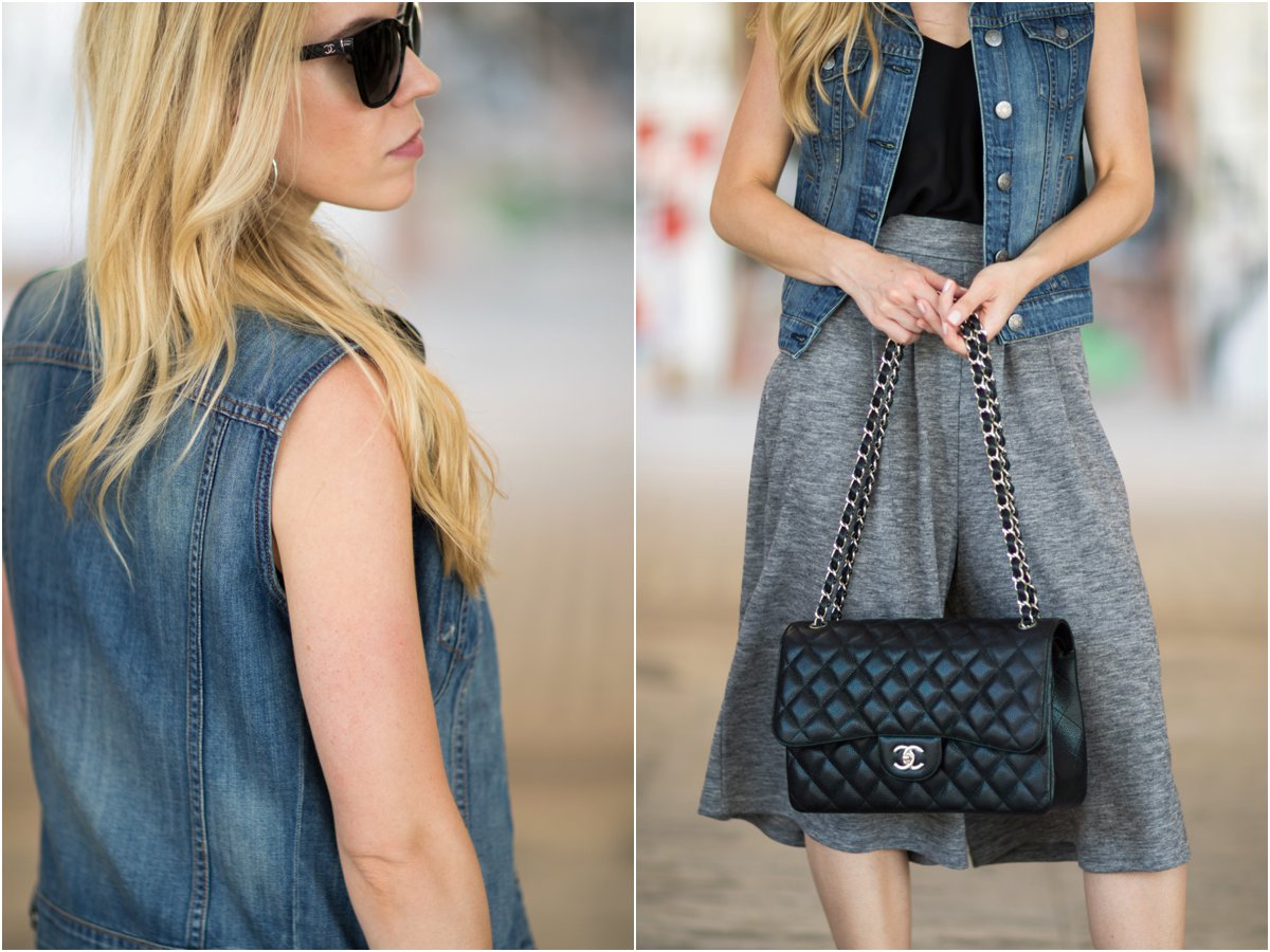 denim vest, wide leg knit culottes, Chanel Jumbo classic flap bag black caviar with silver hardware