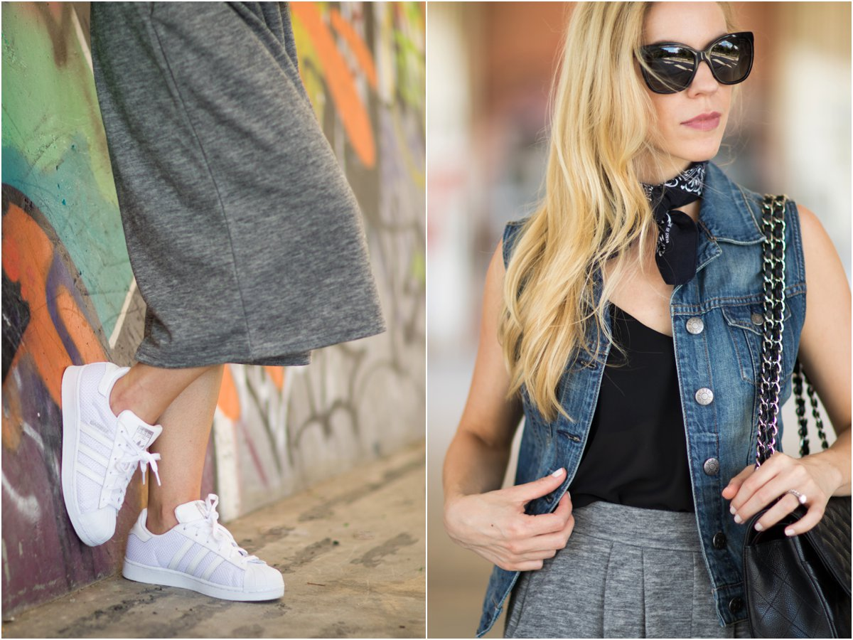 denim vest with black bandana necktie scarf, Chanel butterfly sunglasses, wide leg knit culottes with Adidas Superstar sneakers