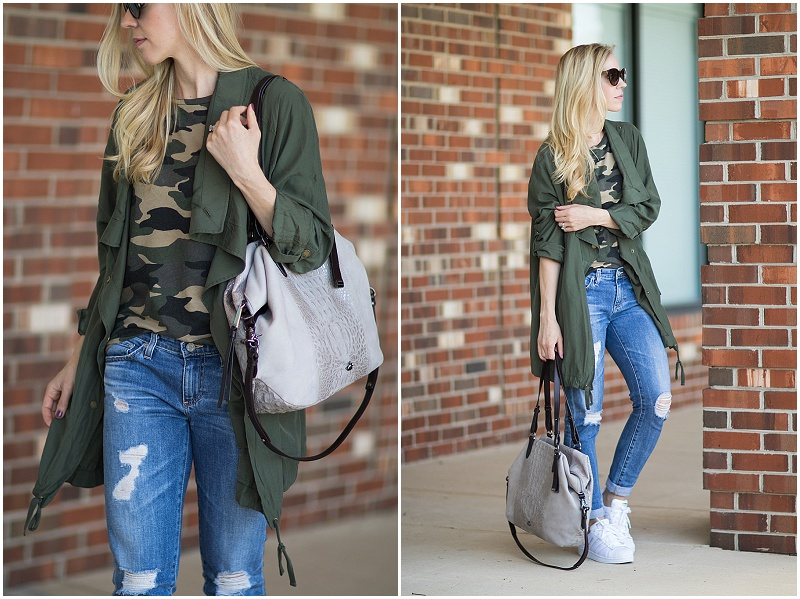 drapey utility jacket outfit, Brahmin suede Delaney tote, camo tee shirt with utility jacket and distressed denim