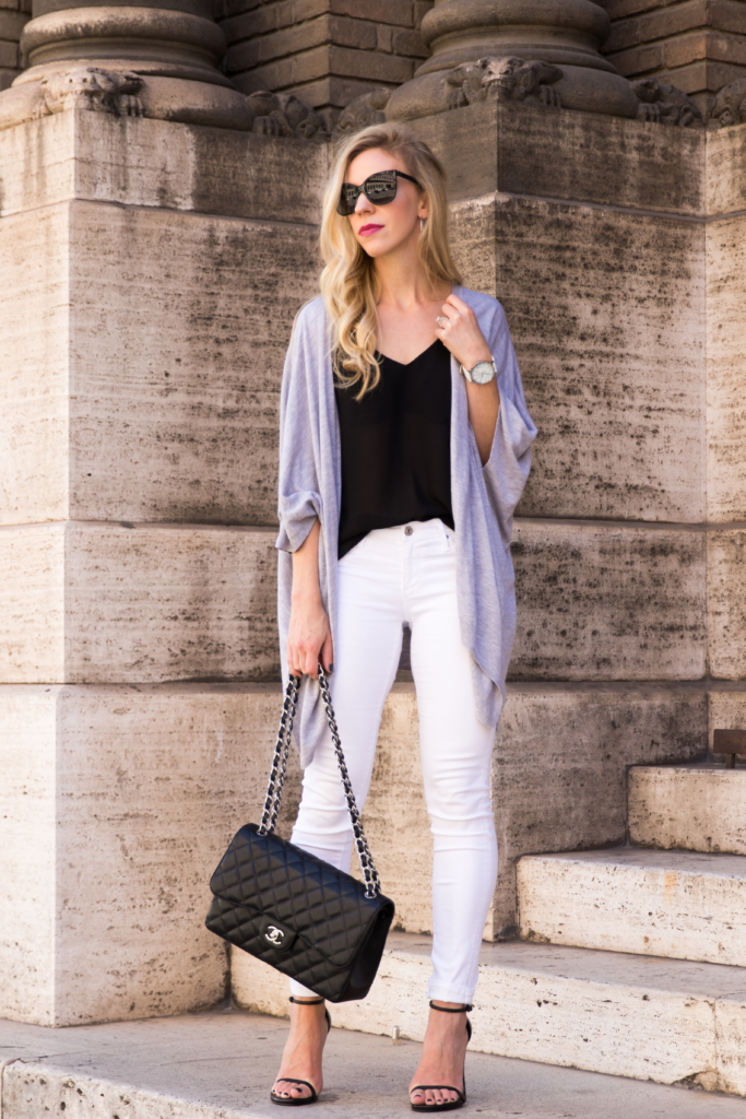 gray kimono cardigan, AG Jeans white legging ankle jean, Stuart Weitzman black Nudist sandal, Chanel Jumbo black caviar, how to wear a kimono