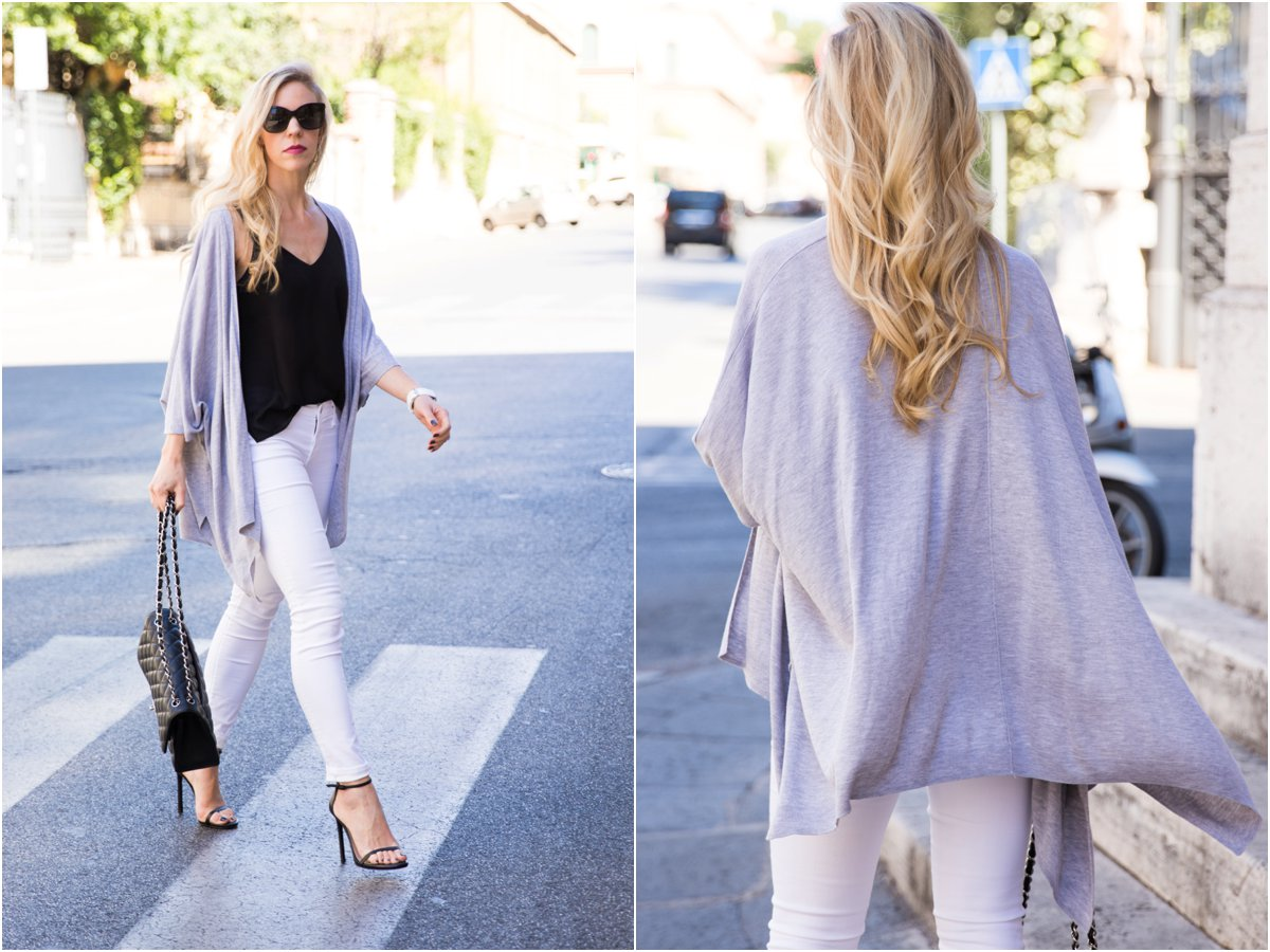 gray kimono cardigan, AG jeans white legging ankle jean, Stuart Weitzman black Nudist stiletto sandals, how to wear a kimono
