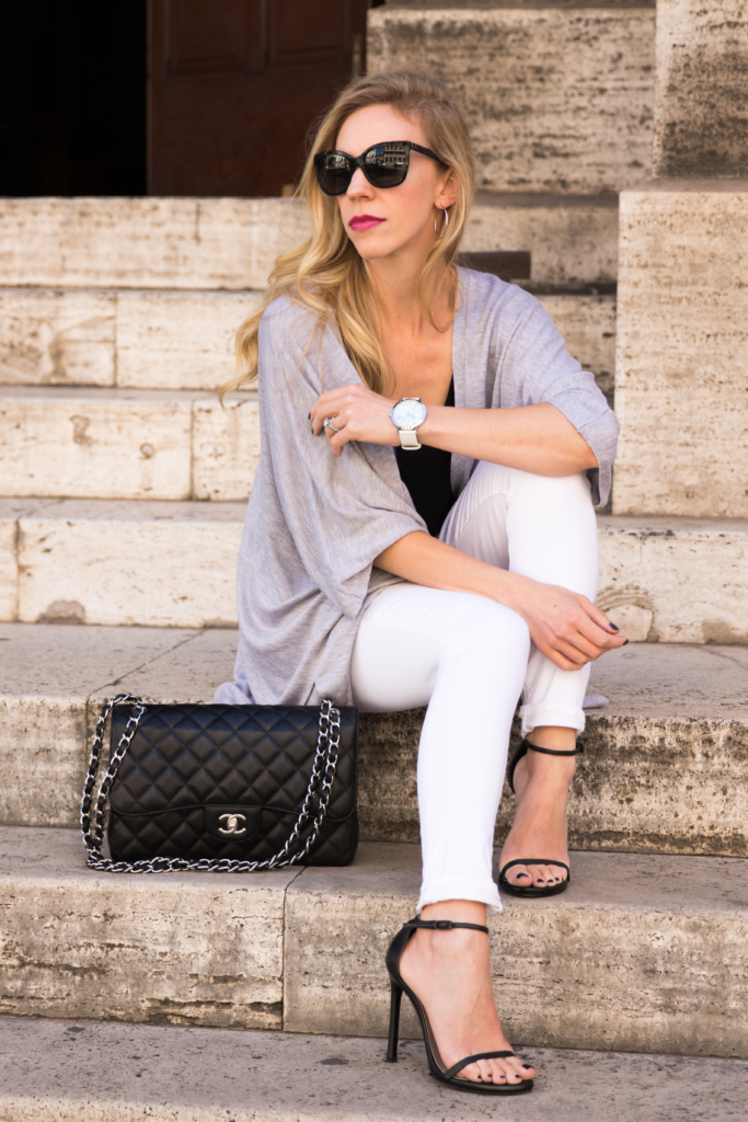 gray kimono cardigan, white skinny jeans, Stuart Weitzman Nudist sandals, Christian Paul white marble watch