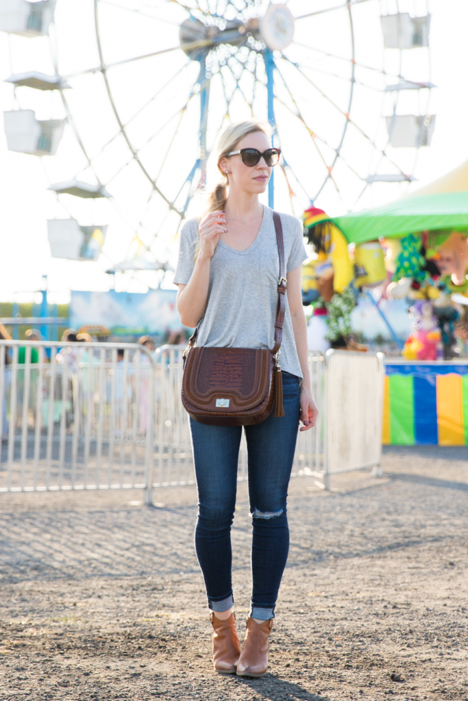 gray v-neck tee, AG Jeans paradox destroyed legging ankle, Frye 'Reina' bootie, Brahmin 'Sonny' saddle bag