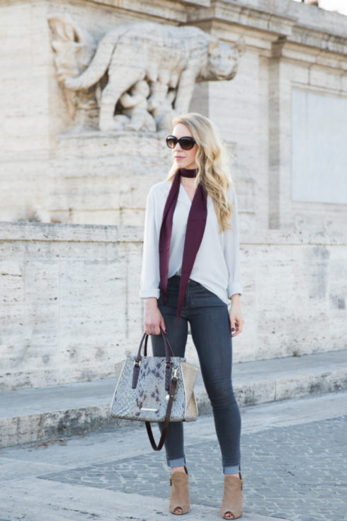 how to wear a skinny scarf, burgundy skinny scarf outfit, Brahmin 'Priscilla' snakeskin satchel, peep-toe booties outfit