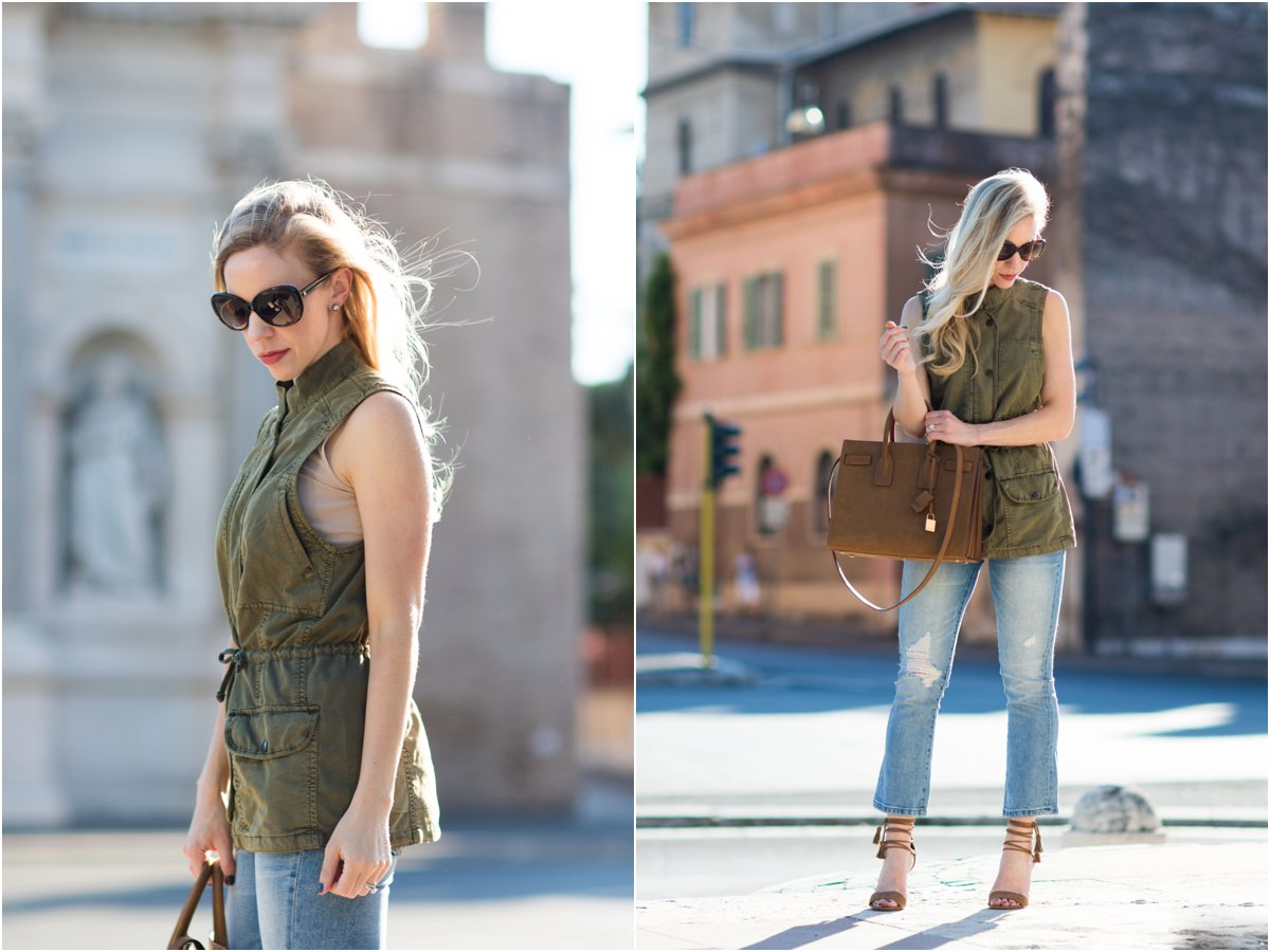 how to wear a utility vest as a top, Saint Laurent sac de jour russet suede, utility vest with distressed denim and lace-up sandals outfit