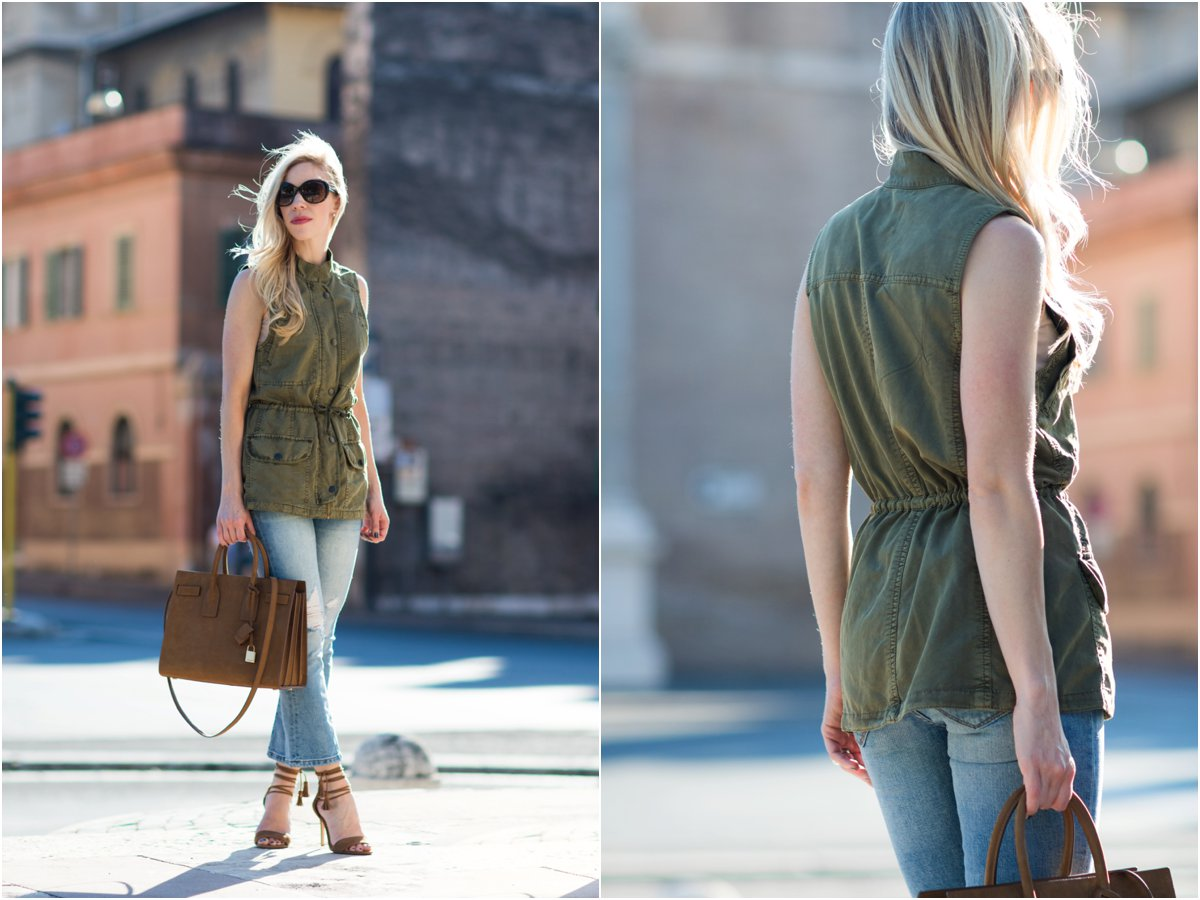 how to wear a utility vest as a top, transitional fall outfit with utility vest and crop flare jeans, fashion blogger Rome Italy