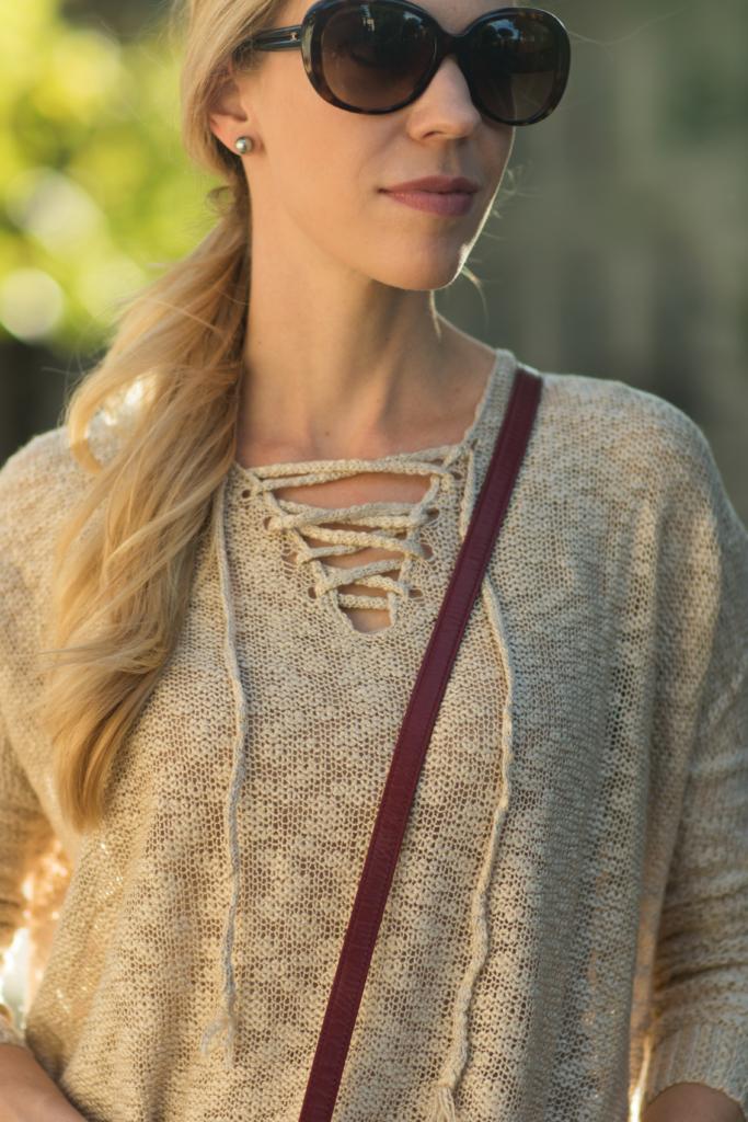 lace-up sweater, Stila 'Baci' nude pink lipstick for fall