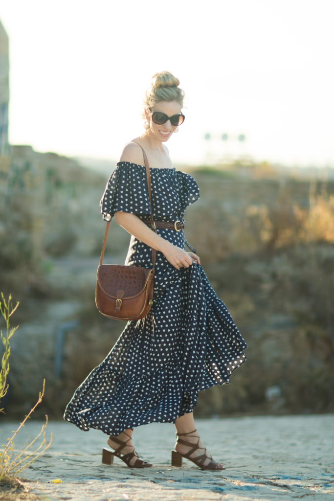 off the shoulder peasant maxi dress, maxi dress with tiered ruffle hem, Stuart Weitzman TieGirlChorus lace up sandals, Brahmin vintage saddlebag
