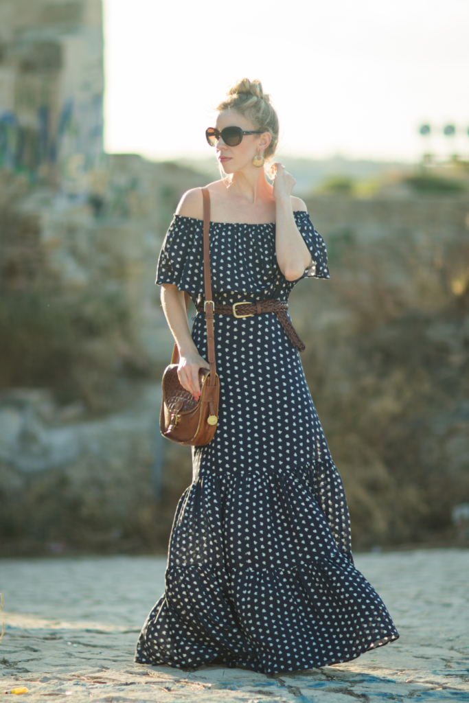 off the shoulder peasant maxi dress, peasant dress with ruffled hem and off the shoulder, maxi dress with leather braided belt outfit, Italian fashion blogger