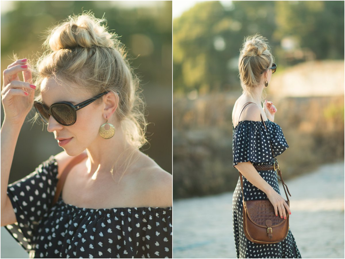 off the shoulder ruffle maxi dress, Brahmin vintage saddlebag, how to wear a peasant maxi dress