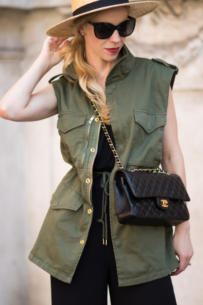 olive utility vest, Chanel medium classic flap bag, unexpected way to wear a utility vest