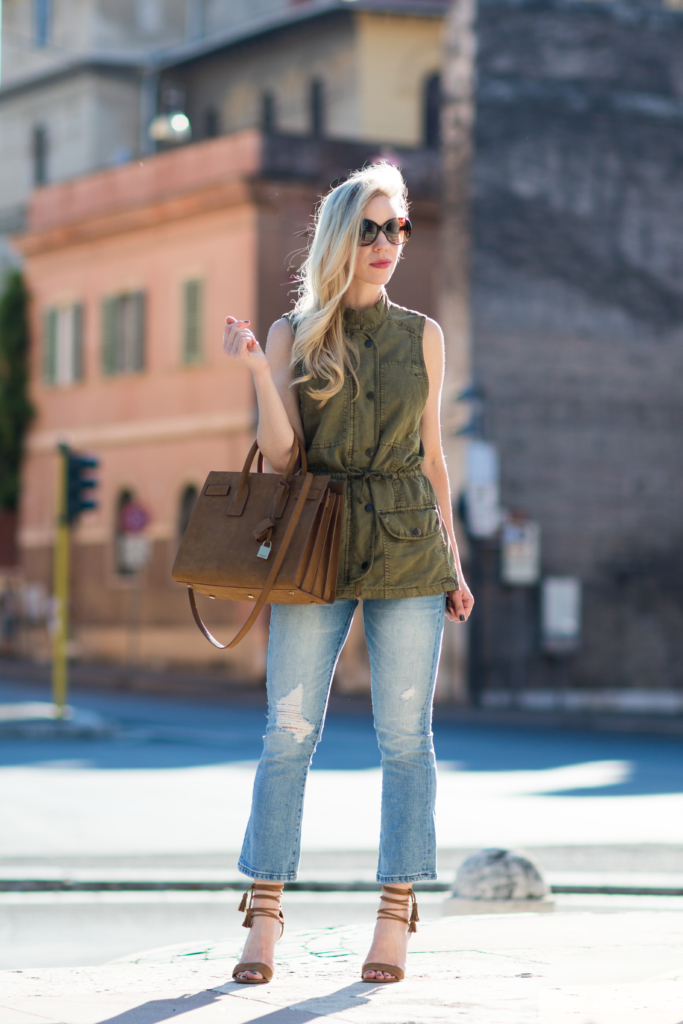 olive utility vest with crop flare jeans and lace-up sandals, Saint Laurent Sac de Jour russet suede, how to wear a utility vest