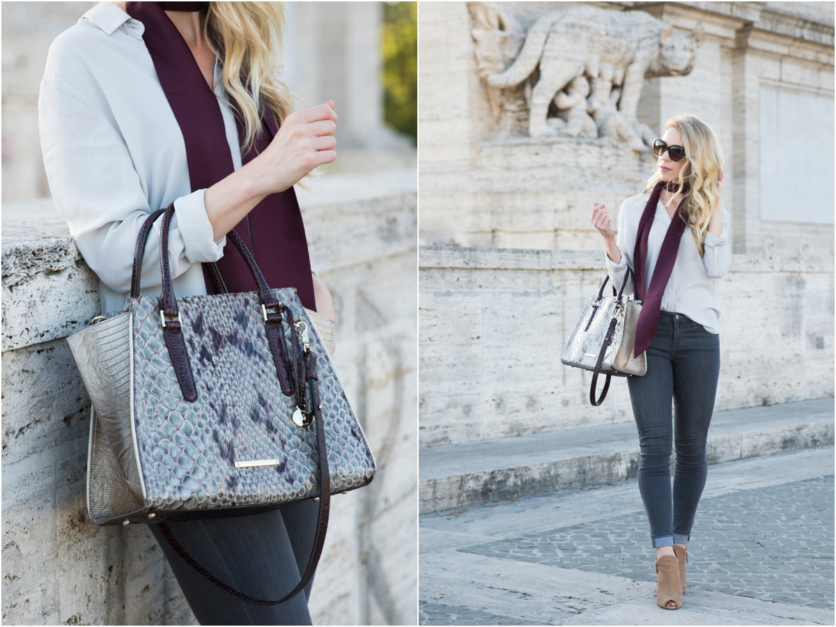 skinny scarf outfit with gray blouse, AG Jeans gray middi ankle, Brahmin 'Priscilla' satchel stone carlisle snakeskin, what to wear with a skinny scarf