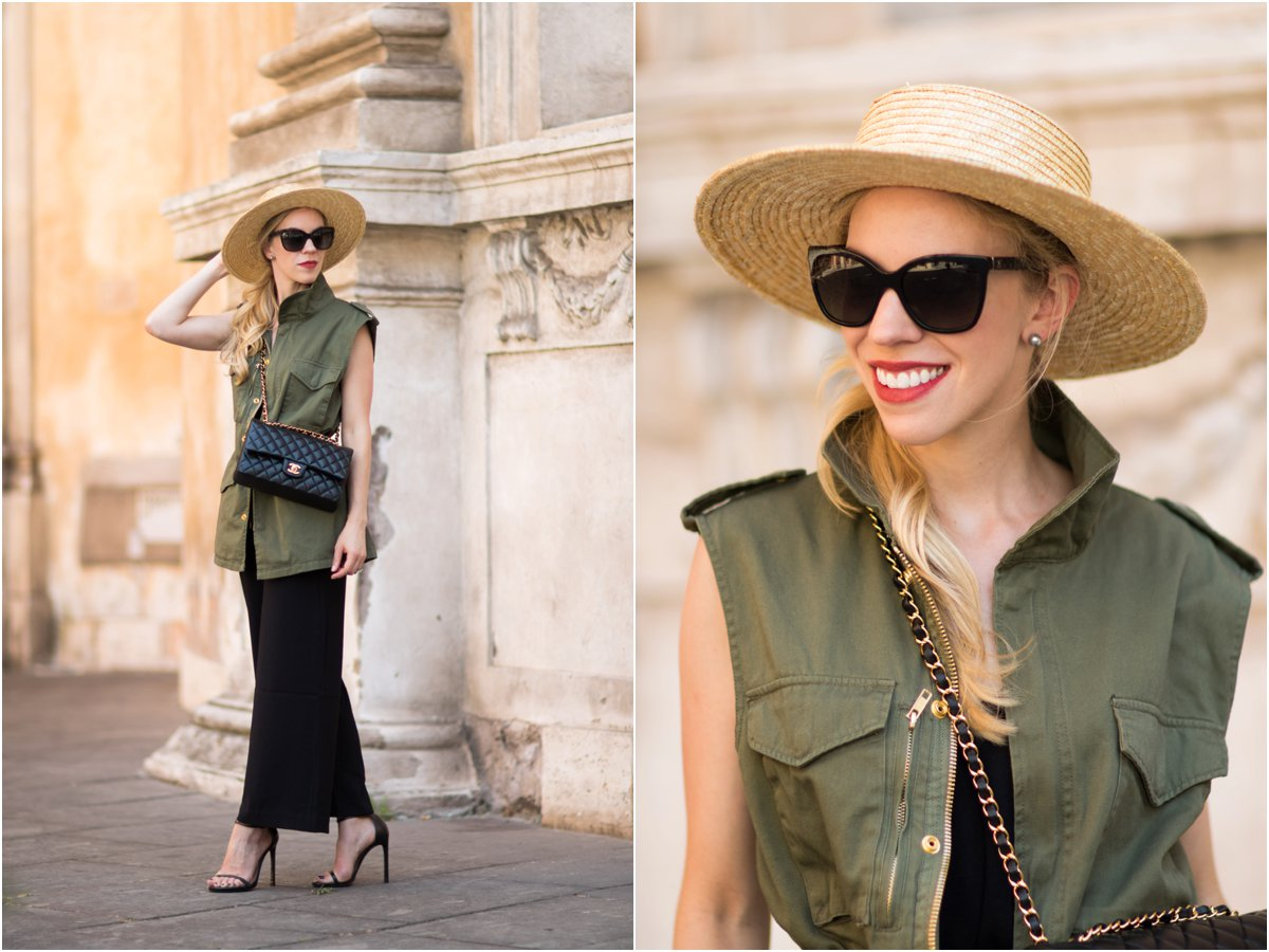 straw boater hat, long olive utility vest, culotte jumpsuit with utility vest and stiletto sandals, Chanel bag with utility vest
