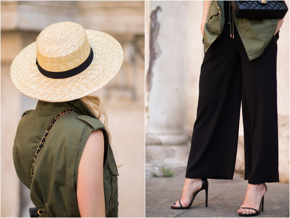 straw boater hat with culotte jumpsuit and utility vest, Stuart Weitzman 'Nudist' black stiletto sandals