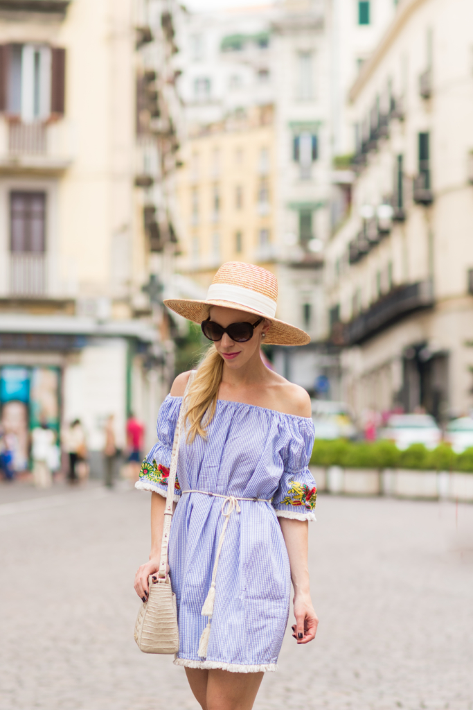 straw boater hat with off the shoudler dress, blue and white striped seersucker dress, off the shoulder embroidered dress
