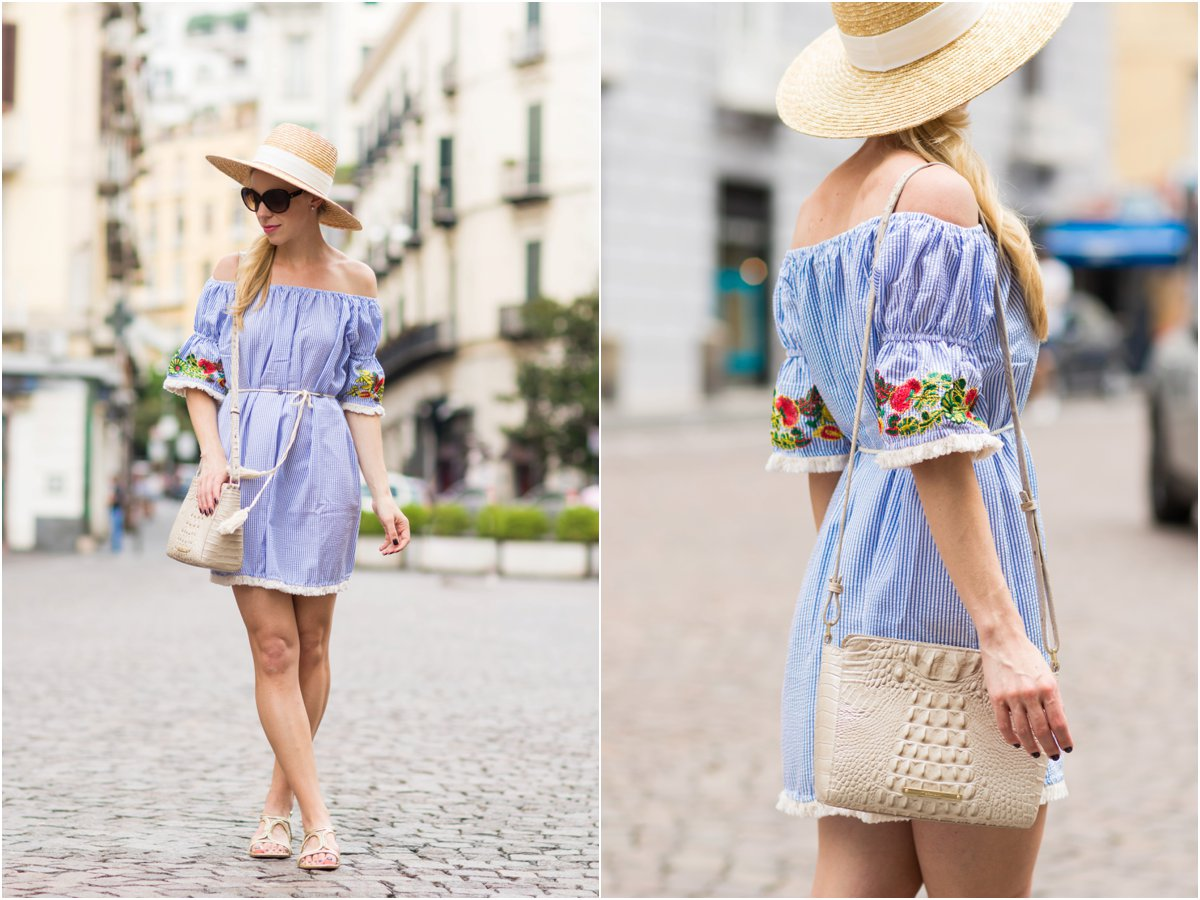 striped embroidered off the shoulder dress with boater hat, Brahmin 'Carrie' crossbody bag, Stuart Weitzman 'Samoa' sandals