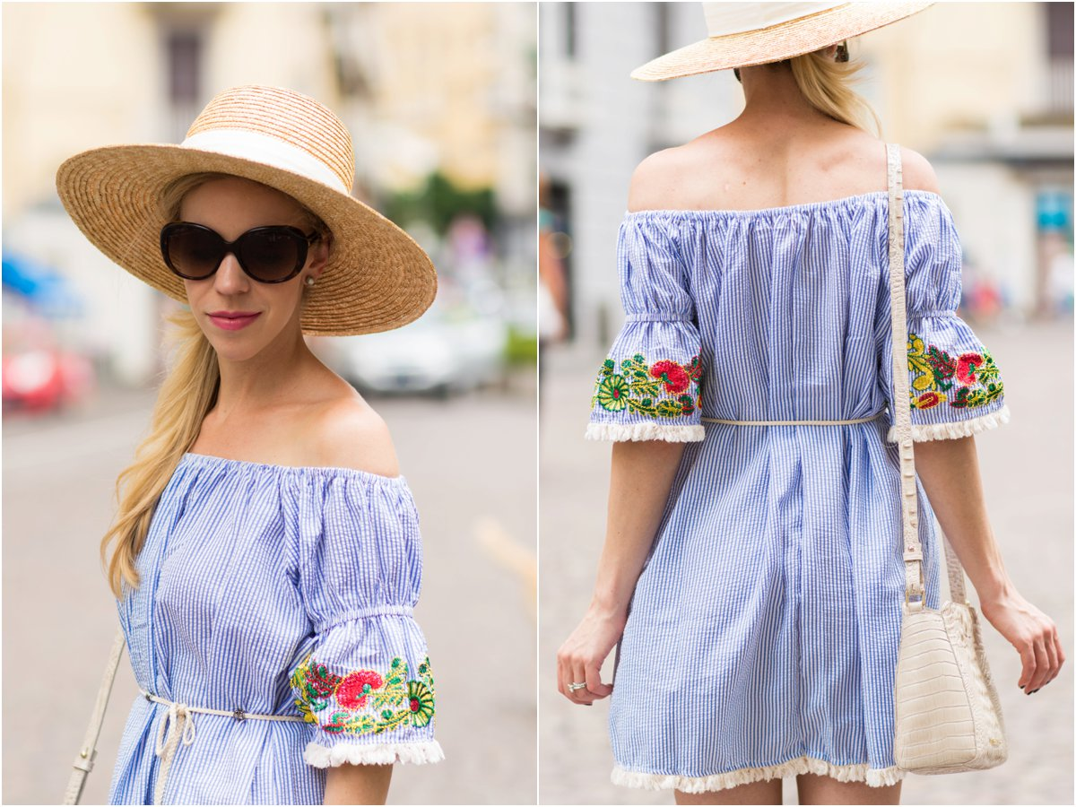 striped off the shoulder seersucker dress with embroidered sleeves, J. Crew wide brim hat, Brahmin 'Carrie' crossbody, fashion blogger Italy