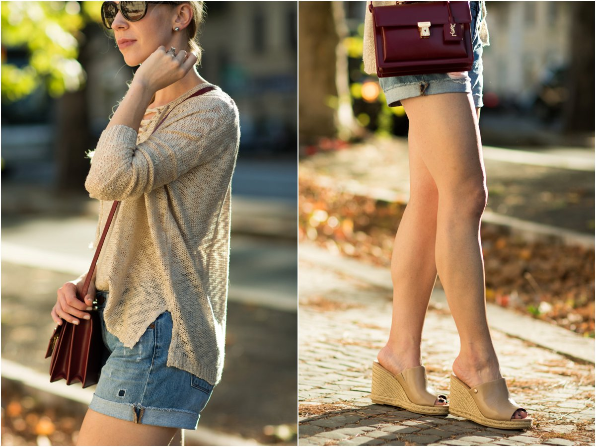tan lace-up sweater with boyfriend shorts, Sam Edelman Bonnie mule wedge sandals, how to wear lace-up sweater