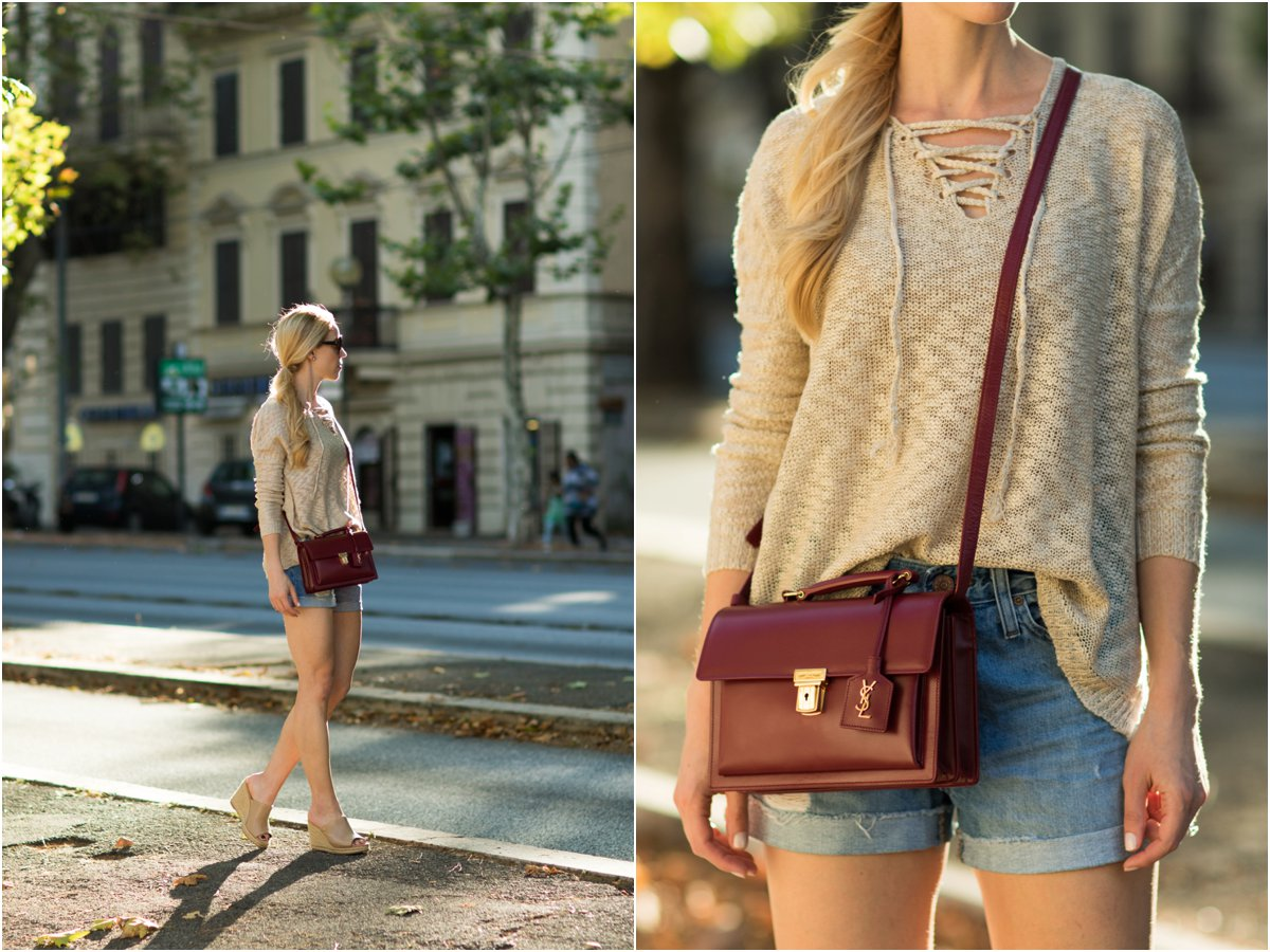 tan lace-up sweater with high waist denim shorts, how to wear lace-up sweater, Saint Laurent High School satchel, fashion blogger Rome Italy