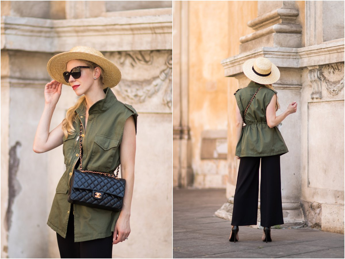 utility vest with Chanel bag and culottes, chic way to style a utility vest with wide leg pants, fashion blogger Rome Italy