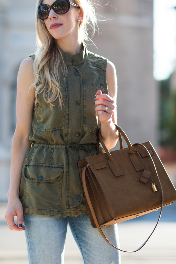 utility vest worn as a top, Saint Laurent Sac de Jour russet suede, tan suede Saint Laurent handbag