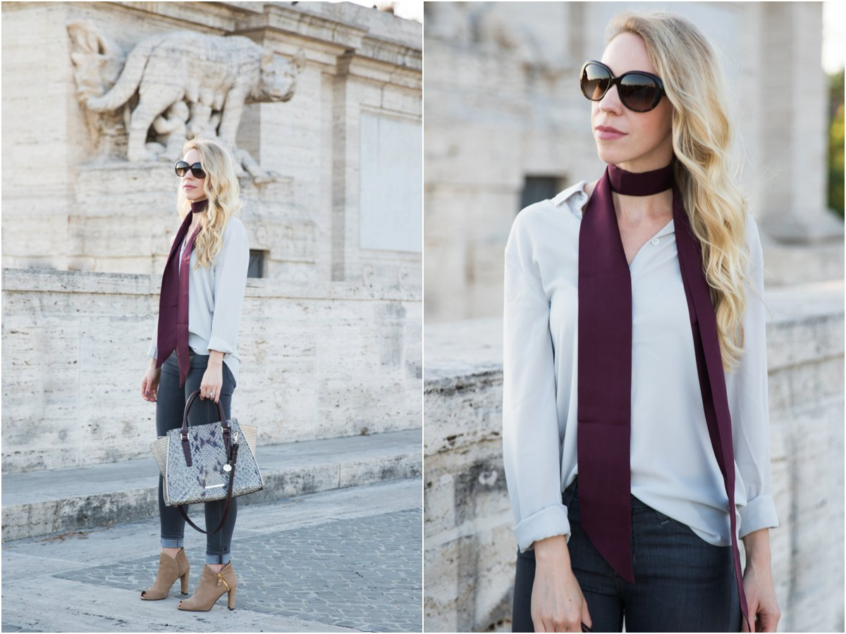 what to wear with a skinny scarf, blouse with skinny scarf, burgundy skinny scarf with gray outfit, how to wear a skinny scarf