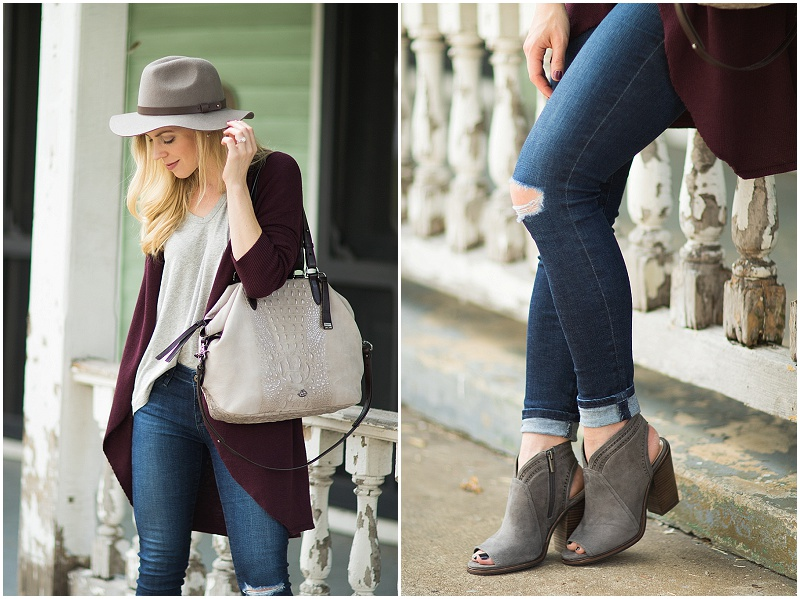 brahmin-delaney-tote-smoke-wilmington-gray-suede-peep-toe-booties-burgundy-and-gray-fall-outfit