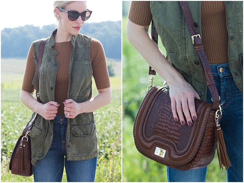 Brahmin Sonny saddle bag Toffee Rockdale, olive utility vest with camel tan sweater, how to style a utility vest