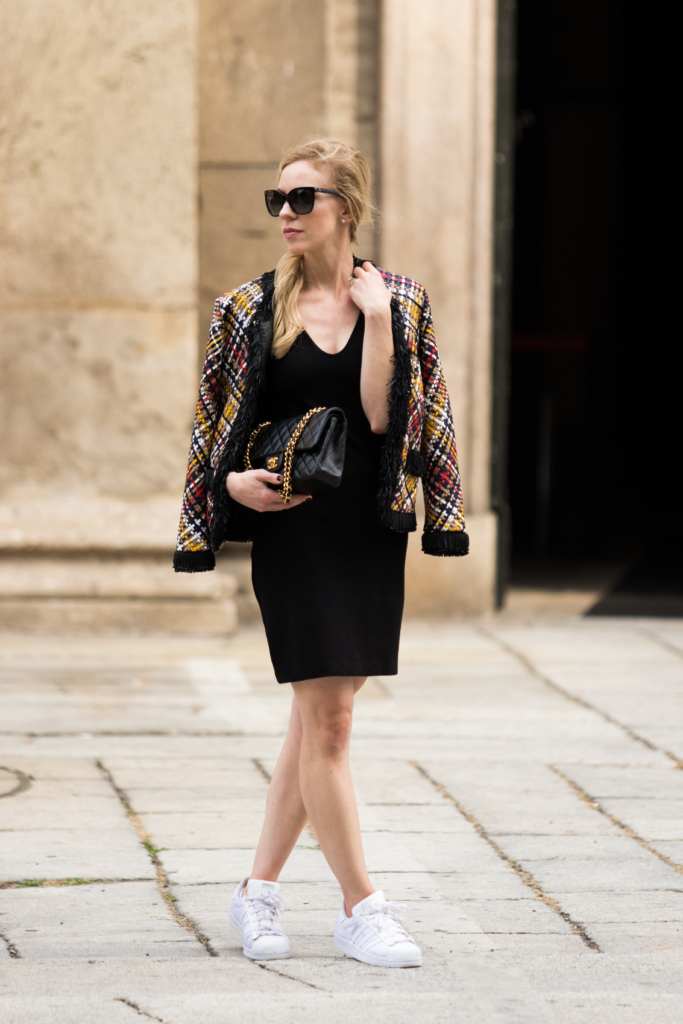 escada-basketweave-leather-jacket-milan-fashion-week-street-style-leather-jacket-with-chanel-bag-and-adidas-sneakers