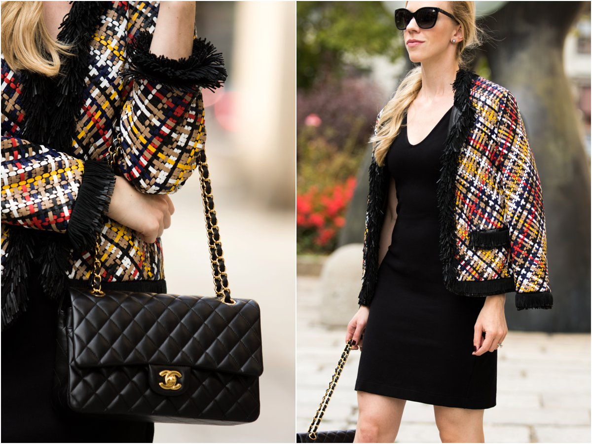escada-multicolor-basketweave-leather-jacket-with-fringe-detail-chanel-medium-classic-flap-bag-fashion-week-outfit-with-leather-jacket