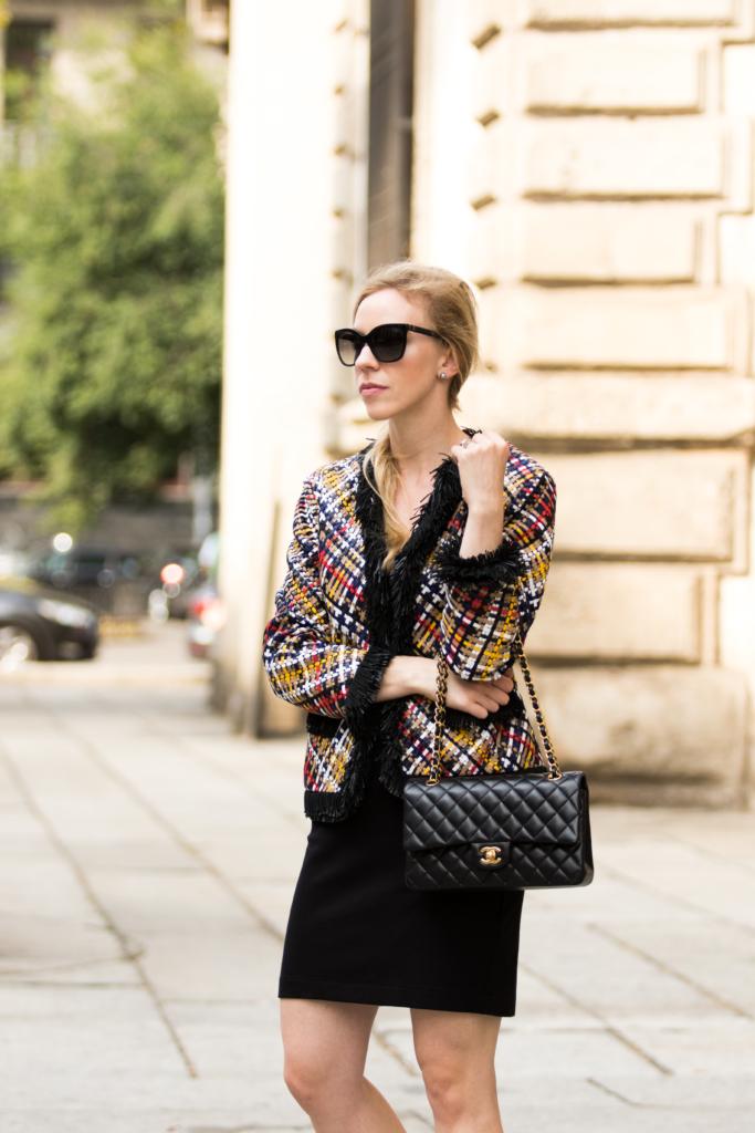 escada-multicolor-fringe-trim-leather-jacket-chanel-medium-classic-flap-bag-black-with-gold-hardware-milan-fashion-week-street-style