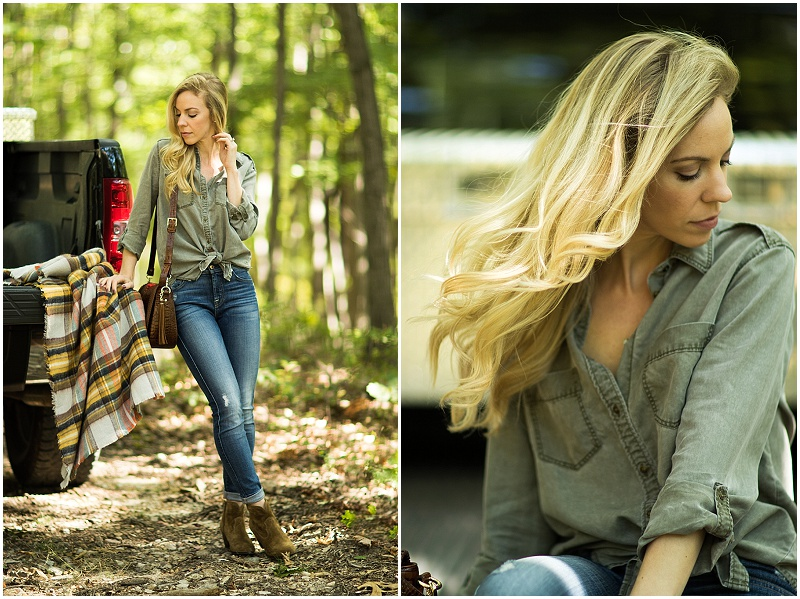 Express olive boyfriend shirt, 7 for all mankind high waist ankle jeans, Frye 'Renee' western bootie