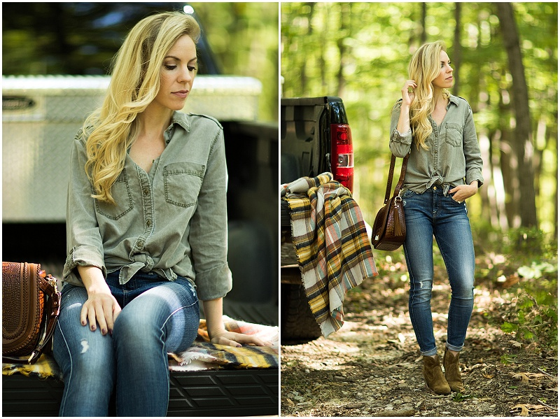 Express olive twill boyfriend shirt, 7 for all mankind high waist ankle jeans, Frye 'Renee' bootie, tied up shirt with high waist jeans