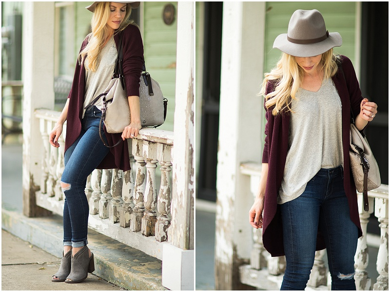 hm-gray-fedora-burgundy-oversized-sweater-ag-jeans-the-legging-ankle-paradox-destroyed-gray-suede-peep-toe-boots