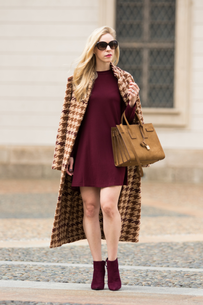 la-fe-maraboutee-houndstooth-wool-coat-burgundy-mini-dress-stuart-weitzman-bordeaux-suede-booties-saint-laurent-tan-suede-sac-de-jour