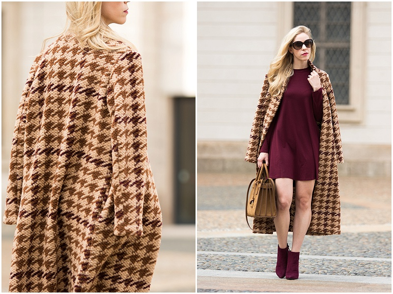 la-fee-maraboutee-brown-wool-houndstooth-coat-shein-burgundy-mini-dress-stuart-weitzman-burgundy-suede-booties