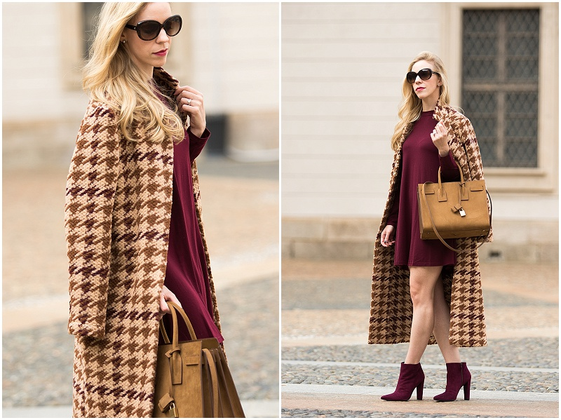 la-fee-maraboutee-houndstooth-wool-coat-burgundy-mini-dress-with-long-coat-ysl-tan-suede-tote-milan-fashion-week-ss17-street-style