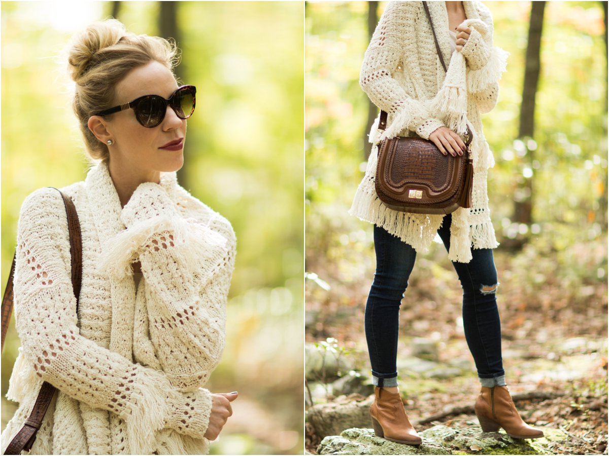 maje-fringe-cardigan-brahmin-sonny-crossbody-toffee-rockdale-cardigan-with-distressed-denim-and-booties