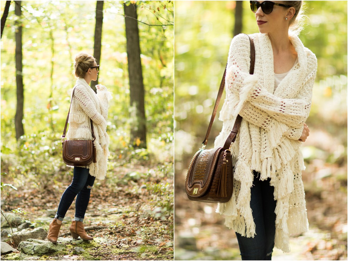 maje-fringe-cardigan-brahmin-sonny-crossbody-toffee-rockdale-fringe-cardigan-outfit-for-fall-with-booties-oversized-cardigan-outfit