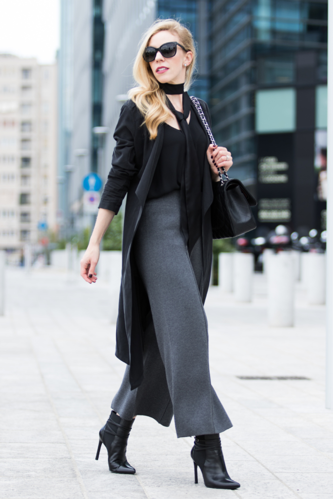 milan-fashion-week-ss17-street-style-black-drapey-trench-coat-with-gray-knit-culottes-and-booties-what-to-wear-to-fashion-week