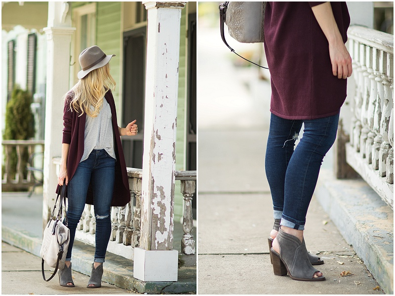 vince-camuto-gray-suede-peep-toe-booties-burgundy-cardigan-with-distressed-denim-and-booties-outfit