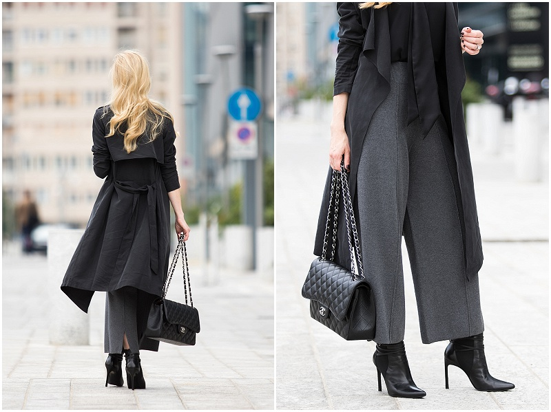 black-drapey-trench-coat-with-gray-knit-culottes-culottes-with-booties-outfit-milan-fashion-week-ss17-street-style