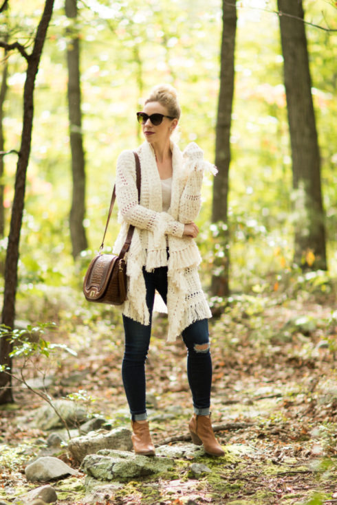 fringe-sweater-with-skinny-jeans-and-booties-frye-reina-western-bootie-brahmin-sonny-crossbody-toffee-rockdale-oversized-fringe-sweater-fall-outfit
