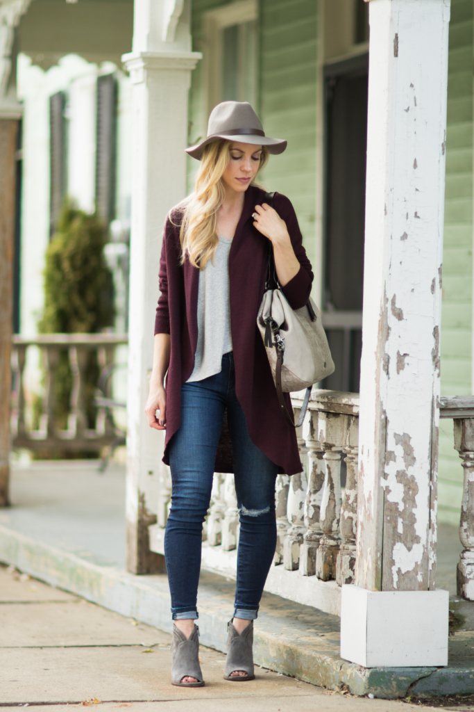 long-burgundy-cocoon-cardigan-with-distressed-denim-gray-suede-peep-toe-booties-gray-and-burgundy-fall-outfit