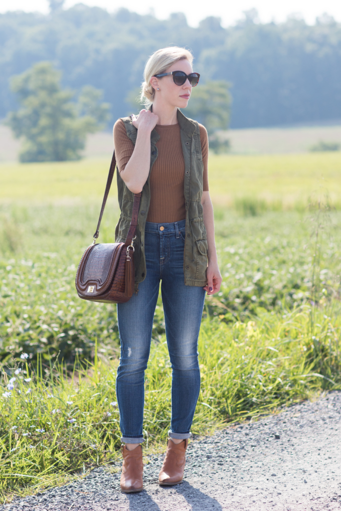 olive utility vest, 7 for all mankind high waist ankle jeans, Frye western booties, Brahmin Sonny saddle bag, how to wear a utility vest fall