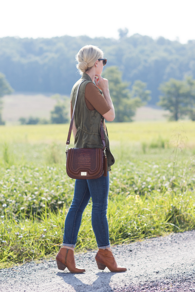 utility vest with ankle booties fall outfit, Brahmin Sonny saddlebag toffee rockdale, how to wear a utility vest with booties