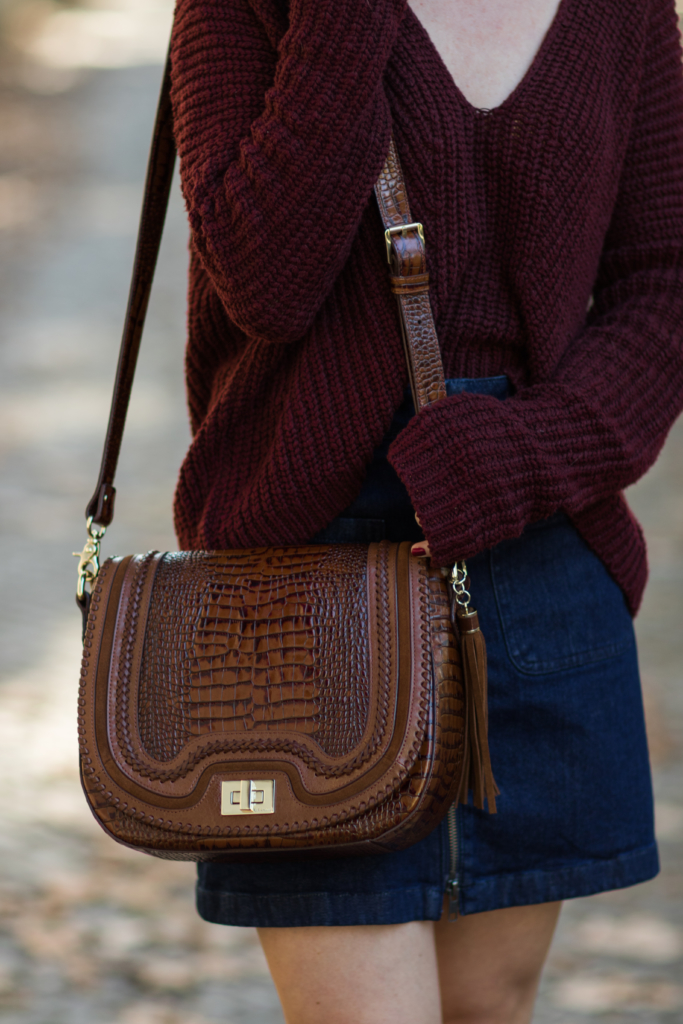brahmin-sonny-toffee-rockdale-oversized-burgundy-sweater-with-denim-mini-skirt-how-to-wear-denim-mini-skirt-for-fall