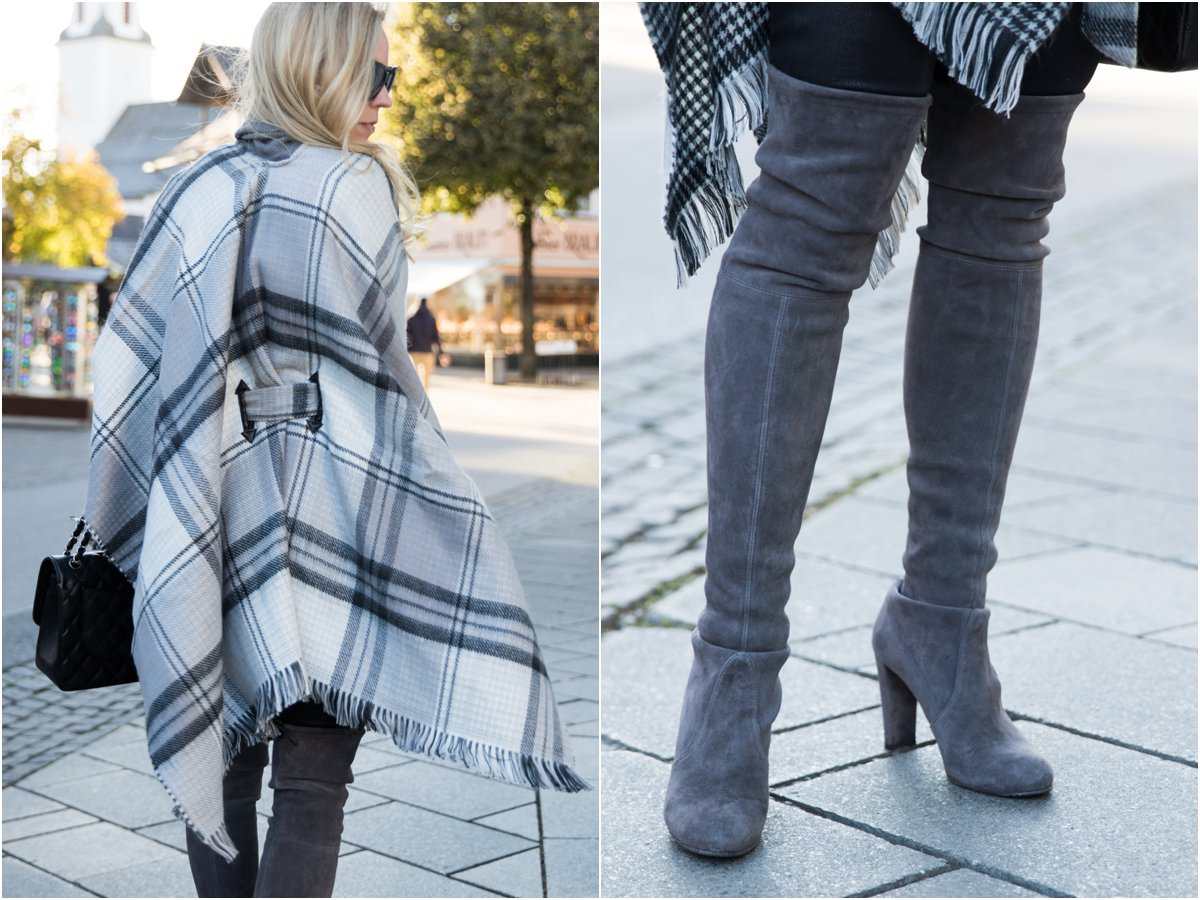 echo-gray-plaid-belted-cape-stuart-weitzman-londra-suede-over-the-knee-boots-best-outfits-with-plaid-cape-and-over-the-knee-boots