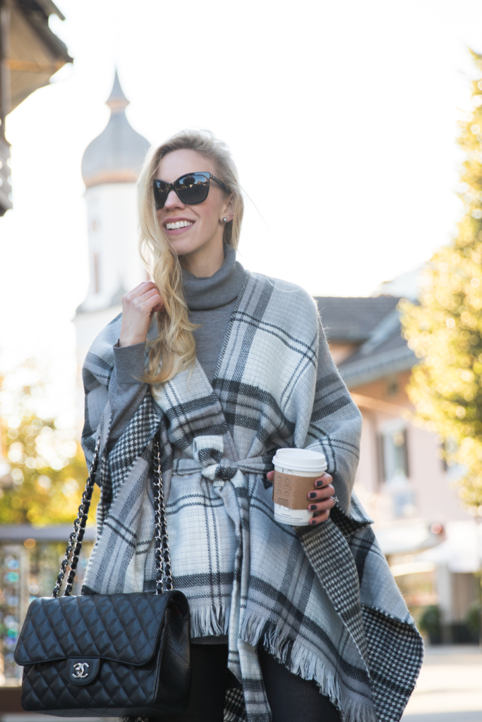 echo-plaid-belted-cape-chanel-jumbo-classic-black-caviar-with-silver-hardware-gray-plaid-cape-fall-outfit
